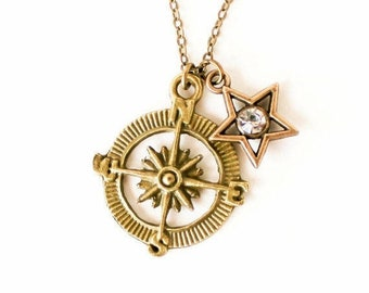 Clearance sale Compass and crystal star charm necklace LAST ONE