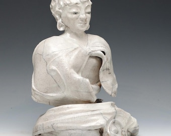 White Buddha Statue Seated in the Clouds Raku Ceramics