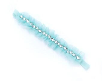 Lace Rhinestone Headband - Mint
