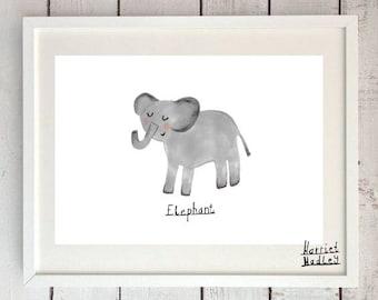 Elephant Cute Print Illustration Home Decor Nursery Art