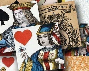 Vintage Playing Cards Digital Collage Sheet in 2-Inch Squares Kings Queens Jacks Suits for Pendants Jewelry and More -- piddix 605