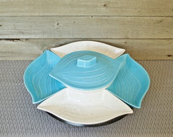 Mid CenturyServing Set, Lazy Susan, Aqua Turquoise Teal White Ceramic, Pottery, 7 piece, Serving Bowl  Lid, Vintage Side Dishes Bowl USA L34