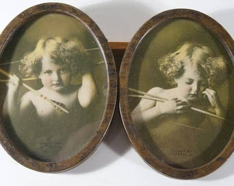 Pair Of Antique M.B. Parkinson Oval Cupid Pictures