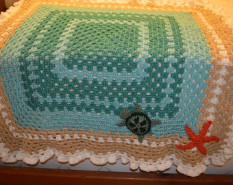 """Crocheted Sea Turtle Granny Square Afghan 40"""""""