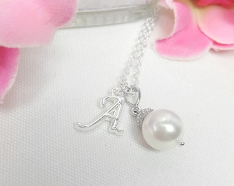 Personalized Bridesmaid Gift, Necklace with Initial, Swarovski Pearl Necklace, Custom Letter Initial, Pearl on a Chain, Pendant Necklaces