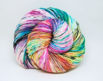 "Glam Rock Sparkle Sock Yarn - ""Bitchin!"" -  Handpainted Superwash Merino - 438 Yards"