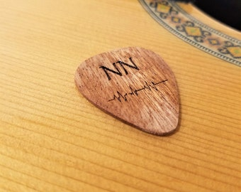 Personalized Soundwave Guitar Pick, Custom Engraved Music Soundwave Plectrum, Wood Laser Burned Initials and Sound Wave Guitar Pick