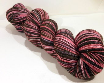 Handdyed merino wool/silk/stellina laceweight yarn - Party Princess -  pink, red, black, rose, blush - Enchanted Lace