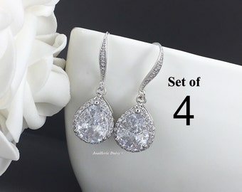 Set of 4 Wedding Earrings Dangle Earrings CZ Earrings Bridesmaid Jewelry Bridal Party Gift for Her Cubic Zirconia Earrings Gift for Mothers