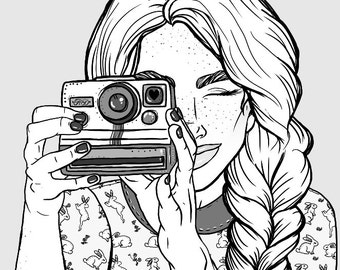 Girl and Camera - A4 Art Print by Hungry Designs