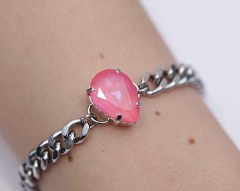 Flamingo AB / Aurora Borealis / Swarovski Chain Bracelet / Stainless Steel / Curb Chain / Teardrop Crystal / Stacking