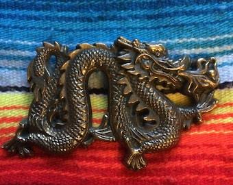 Japanese Dragon Belt Buckle Baron Solid Brass 1981 Rare