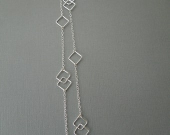long sterling silver necklace, station, geometric, simple, modern, everyday, shiny, classic, diamonds, double diamonds, N08