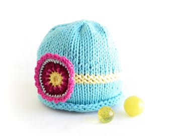 Aqua Flower Hat - 2 to 5 years - Soft Hand Knit - Ready to ship