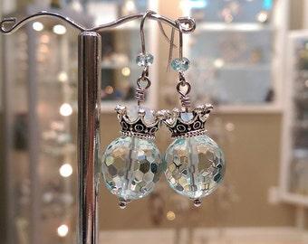 Aquamarine Crown Top Earrings, Faceted Aquamarine Earrings
