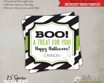 Printable Halloween Treat Tag Lime, Boo! A Treat for You, Halloween Candy Tag, Printable Instant Download