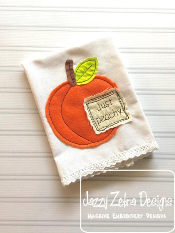 Just Peachy Shabby Chic Appliqué design - peach appliqué design - vintage appliqué design - fruit appliqué design - bean stitch appliqué