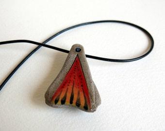 ceramic pedant - ceramic necklace - ceramic red pedant - hand made pedant - pedant