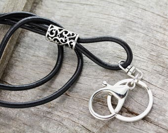 Black Silver Leather Lanyard, Lanyard, Boho Lanyard, Black Leather Key Lanyard, Key Lanyard, ID Badge Lanyard, Leather ID Lanyard, SL-100