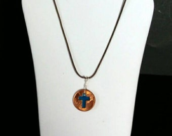 "Penny cross necklace, 19"" chain/choker, religious gift, cross Penny, Christian jewelry, copper cut, Mother's day, Gift for her or him"