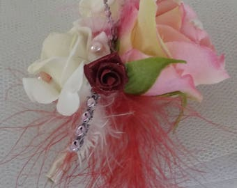 Woman wedding corsage brooch