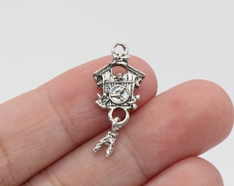 5 Pcs Birdhouse Charms Bird Charms Antique Silver Tone 25x12mm - YD1264