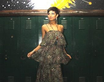 Vtg 70s Floral Tiered Ruffle Dress / Garden Disco Party