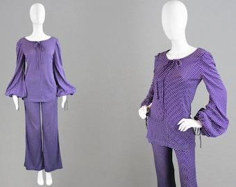 Vintage 70s BIBA Purple Trouser Suit Polka Dot Print Womens Pant Suit Balloon Sleeve 1970s 2 Piece Suit Tunic Top Palazzo Pant Suit Micro