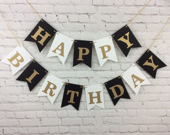 HAPPY BIRTHDAY Banner - Personalized Banner, Add Name Optional - Birthday Party Banner, Black and White Banner, Black and White Party