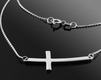 Silver Sideways Cross Necklace .925 Solid Sterling Silver Curved Sideways Cross Necklace