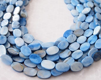 Strand Mother Of Pearl Oval Shell Beads Light Blue Size 15 x 10mm QTY approx 26 beads