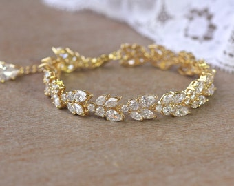 Gold Crystal Bridal Bracelet, Marquise Crystal Bracelet, Crystal Leafy Gold Bracelet, Gold Wedding Jewelry, CLEO