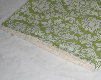 Avocado Dandy Damask and Chenille Receiving Stroller Blanket - SALE