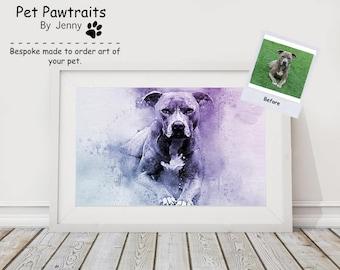 Custom pet portrait, staffy art, pet portrait, custom pet print, dog portrait, dog print, pet print, personalised gift, pet print, pet art,