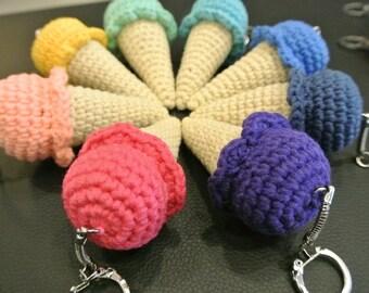Crochet Ice Cream Cone Amigurumi Keychain - Handmade Crochet Amigurumi Toy Doll - Ice Cream Crochet - Amigurumi Ice Cream