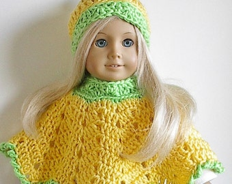 "18"" Doll Clothes Crocheted Poncho and Hat in Yellow with Lime Green Trim handmade to fit the American Girl Doll"