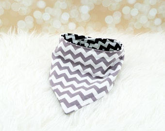 Jersey Knit Bandana Bib - Medium Grey Chevron/Medium Black Chevron - reversible bandana bib, jersey drool bib, knit drool bib