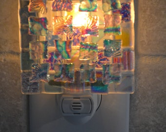 Dichroic Chips Fused Glass Night Light, with Automatic Sensor