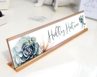 """Custom Succulent Nameplate """"Hadley"""" - Personalized Desk Name Plate Sign Decor - Office Accessories - Modern Office Supplies"""