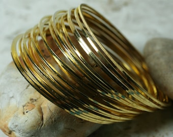 Stacking Bangle, Stackable Bangle, Gold Plated Bangle, Bangle Set, Small to Medium, 2 pcs  (item ID FA00022GP))