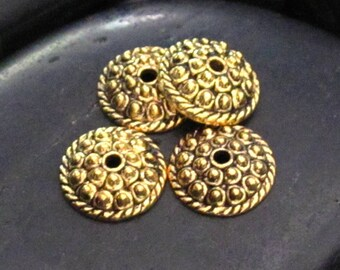 Gold Tone Pewter Beaded & Braid Detail Cap Bead - Set of 28 - Bead Supplies