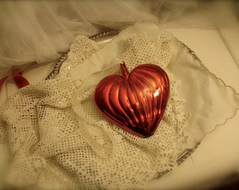 vintage red heart glass ornament, valentines decor, red heart, red glass heart, Heart ornaments