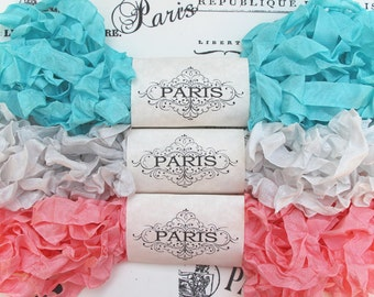 Seam Binding Ribbon,Scrunched Ribbon, Shabby Crinkled Ribbon, Pink, Turquoise,Silver,  French Vintage, Junk Journal, Gift Wrap, Le Studio