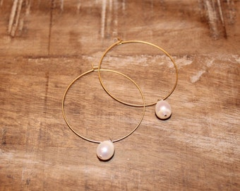 Gold Thin Hoop Earring with Freshwater Pearl Dangle