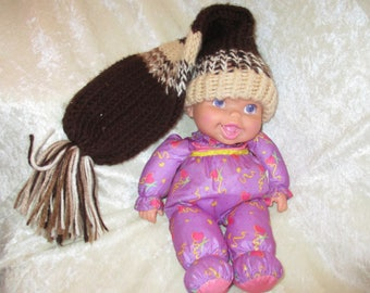 brown ,biege knitted child's hat long tail with tassel.12/14'