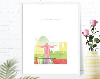 Rio de Janeiro travel gift for nursery, Brazil, wall art decor bedroom printable, downloadable nursery prints, housewarming gift
