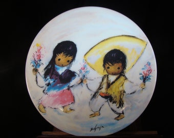 """Castanets in Bloom Collectable Plate by De Grazia from the """"Fiesta of Children collection"""