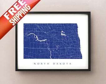 North Dakota Map - Custom Poster Print