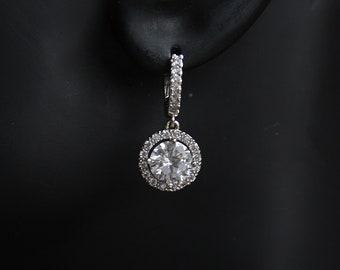 Bridal Earrings Silver Cubic Zirconia Solitaire Drop Hoop Earrings Best Bridal Earrings