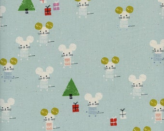 Cotton + Steel Frost - Little Friends Aqua - Quilting Cotton - Fabric by the Yard - Christmas Fabric